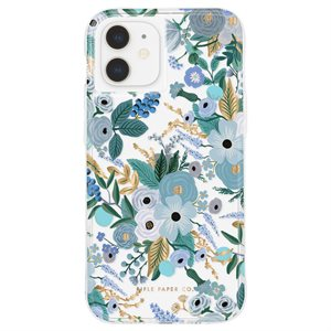 Case-Mate Rifle Paper Case for iPhone 12 Mini with Micropel, Garden Party Blue