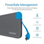 Energizer Powerbank 8000 mAh with Integrated Micro USB / Type C Charging Cable - Black